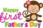 Girl Monkey Happy 1st Fathers Day