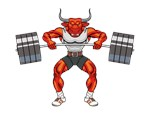 bull, bulldog, bison mascots weightlifting