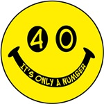 40th birthday smiley face. 40, it's only a number!