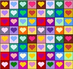 Rainbow Heart Squares Pattern