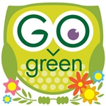Go Green Owl with Flowers