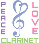 Peace Love Clarinet Music T-shirts