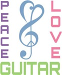 Peace Love Guitar Music T-shirts