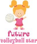 Pink Future Volleyball Star Kids Tee Shirts