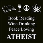 Book Reading Wine Drinking Peace Loving Atheist