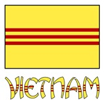 S. Vietnam Flag and Name - Black