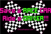 Save A RACE CAR ride a DRIVER (Purple/Green)