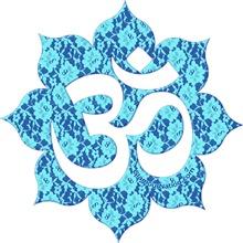 Aum (Om) on blue lace  / YOGA