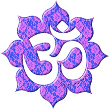 Aum (Om) on Blue/Pink lace  / YOGA