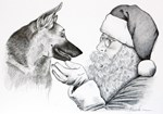 German Shepherd and Santa Claus