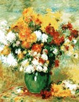 Vintage Painting of Flowers in a Vase