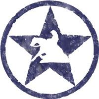 Distressed blue star sliding stop