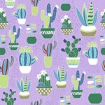 Cactus Pattern Green Blue Purple