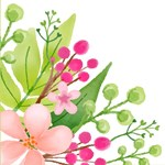 Cute Pink Watercolor Floral Green