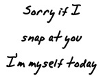 Sorry if I snap at you