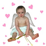 Little Cupid with Pink Hearts T-shirts & Gifts