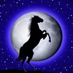 Wild Horse on Surreal Blue Moon