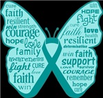 Ovarian Cancer Butterfly Collage of Words Shirts
