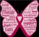 Multiple Myeloma Butterfly Collage of Words Shirts
