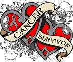 Brain Cancer Survivor Double Hearts Shirts