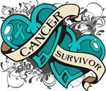 Ovarian Cancer Survivor Double Heart Shirts
