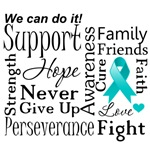 Peritoneal Cancer Supportive Words Shirts and Gif