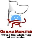 Obama Monster Waves White Flag of Surrender