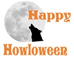 Happy Halloween (Howl-o-ween) Wolf and Full Moon