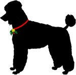 Christmas or Holiday Poodle Jingle Bell Silhouette