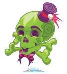Kawaii Green Skull
