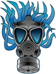Gas Mask Blue Flames