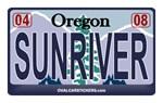 Oregon License Plate - SUNRIVER