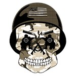 CANDY SKULL-MILITARY-DISTRESSED CAMO