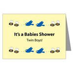 Twin Baby Boys Shower Invitation