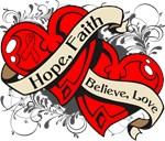 Stroke Hope Faith Dual Hearts Shirts