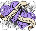 General Cancer Hope Faith Dual Hearts Shirts