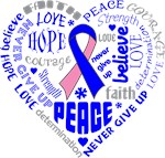 Male Breast Cancer Heart Words Shirts