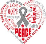 Brain Tumor Heart Words Shirts