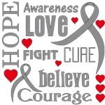 Brain Cancer Hope Words Shirts