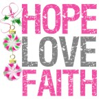 Hope Love Faith Pink Ribbon X-Mas Cards (2)