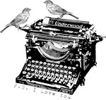 Vintage B&W Typewriter & Birds
