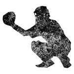 Distressed Baseball Catcher Silhouette