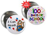 School, Teacher, Award, 100 Days Buttons