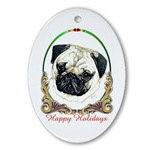 Pug Dog Holiday Ornaments