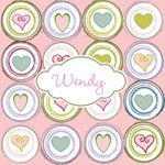 Personalize it! Badge of Hearts Pink