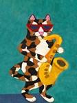 Calico Cat on Saxophone