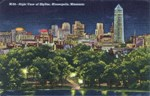 1946 Minneapolis Skyline at Night