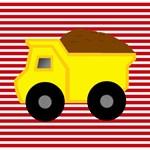 Red White Stripes Dump Truck