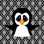 Penguin on Damask