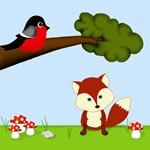 Woodland Fox and Bird